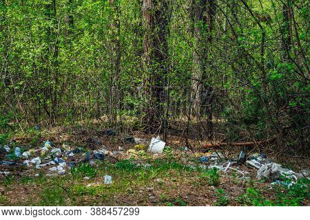 Garbage Pile In Forest Among Plants. Toxic Plastic Into Nature Everywhere. Rubbish Heap In Park Amon