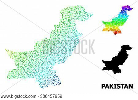 Pixel Spectral, And Solid Map Of Pakistan, And Black Title. Vector Structure Is Created From Map Of