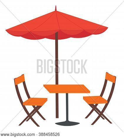 Cafe And Garden Furniture Wooden Table, Chair, Red Umbrella Isolated On A White Background. Summer O