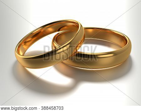 Illustration Of Two Wedding Gold Rings Lie In Each Other Isolated On White. 3d Rendering