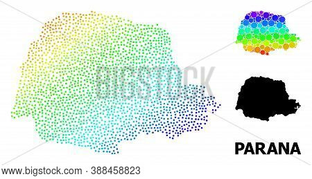 Pixel Rainbow Gradient, And Monochrome Map Of Parana State, And Black Name. Vector Structure Is Crea