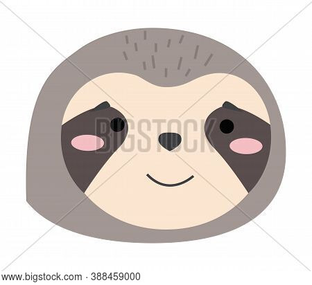 Cartoon Portrait Of The Sloth Isolated On White. Cute Idler Flat Vector Illustration. Muzzle Of Wild