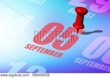September 5th. Day 5 Of Month, Red Date Written And Pinned On A Calendar To Remind You An Important