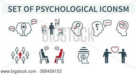 Vector Illustration Of A Group, A Set Of Icons, Miniature Infographics In One Style, Personality Psy