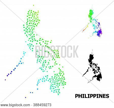 Pixel Rainbow Gradient, And Monochrome Map Of Philippines, And Black Text. Vector Model Is Created F