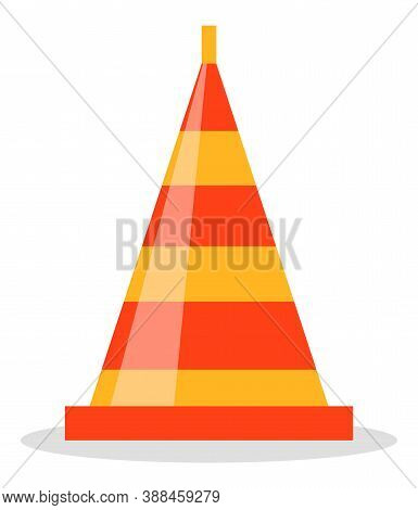Red And Orange Road Cone Flat Vector Illustration. Sign Used To Provide Safe Traffic During Road Con