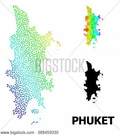 Dot Rainbow Gradient, And Monochrome Map Of Phuket, And Black Tag. Vector Model Is Created From Map