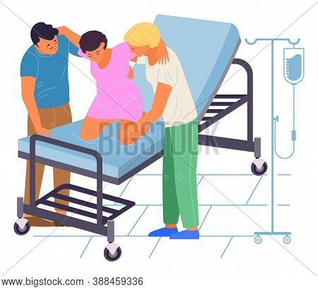 Pregnancy Preparing. Pregnant Woman On Coach In Medical Clinic Perinatal Centre Is Ready To Give A B