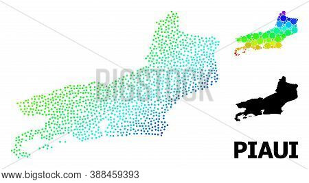 Pixel Spectrum, And Monochrome Map Of Piaui State, And Black Text. Vector Model Is Created From Map