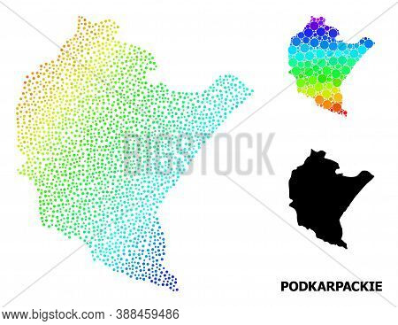 Dotted Spectral, And Solid Map Of Podkarpackie Province, And Black Title. Vector Structure Is Create