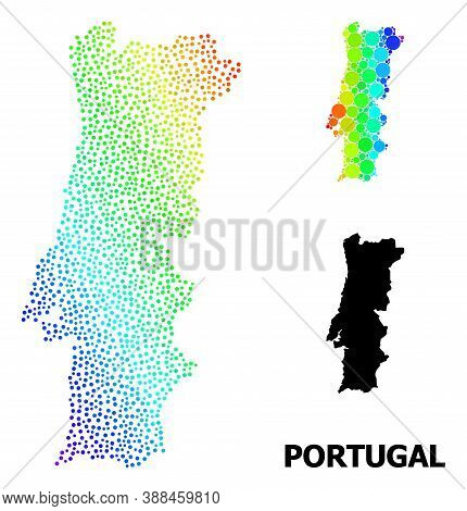 Dotted Spectrum, And Monochrome Map Of Portugal, And Black Tag. Vector Structure Is Created From Map