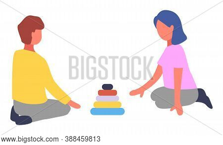 Children Playing With Pyramid Toy Vector Flat Illustration. Boy And Girl Stack A Pyramid Of Colored
