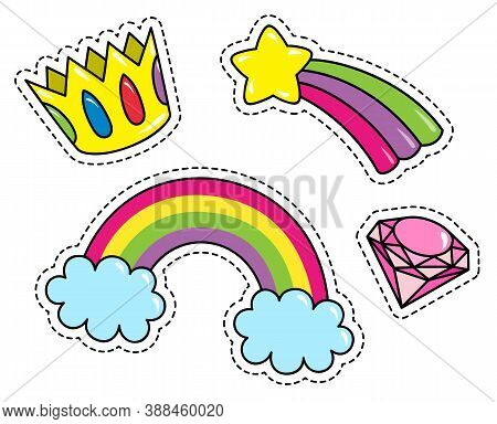 Fashion Patch Badges With Crown, Diamond, Rainbow With Clouds And Star. Set Of Stickers, Pins, Patch