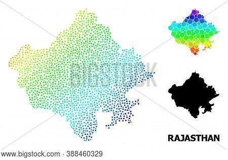 Dot Spectrum, And Monochrome Map Of Rajasthan State, And Black Caption. Vector Structure Is Created