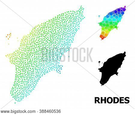 Pixelated Rainbow Gradient, And Monochrome Map Of Rhodes Island, And Black Title. Vector Model Is Cr
