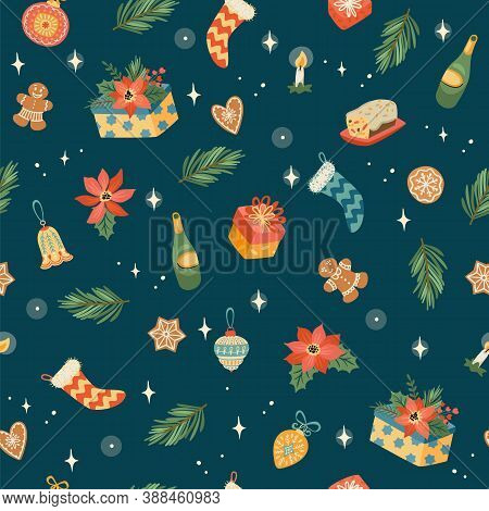 Christmas And Happy New Year Seamless Pattern. Trendy Retro Style. Vector Design Template.