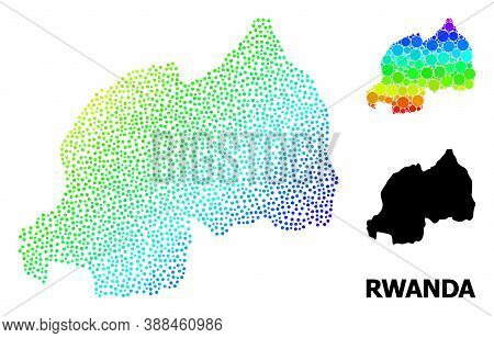 Pixel Rainbow Gradient, And Monochrome Map Of Rwanda, And Black Text. Vector Structure Is Created Fr