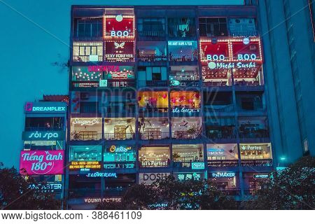 Ho Chi Minh City, Vietnam - April 24, 2019 : The Cafe Apartment At Night Is A New Tourist Attraction