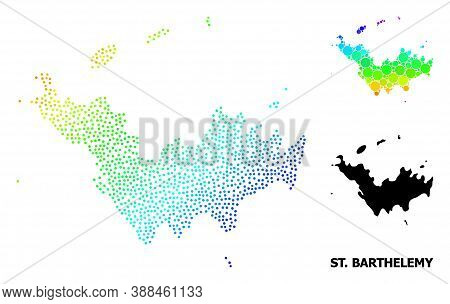 Pixel Rainbow Gradient, And Solid Map Of Saint Barthelemy, And Black Caption. Vector Model Is Create