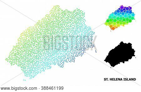 Dotted Bright Spectral, And Solid Map Of Saint Helena Island, And Black Title. Vector Structure Is C