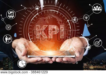 Kpi Key Performance Indicator For Business Concept - Modern Graphic Interface Showing Symbols Of Job