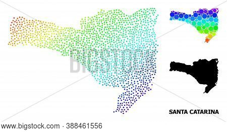 Dot Rainbow Gradient, And Solid Map Of Santa Catarina State, And Black Caption. Vector Structure Is