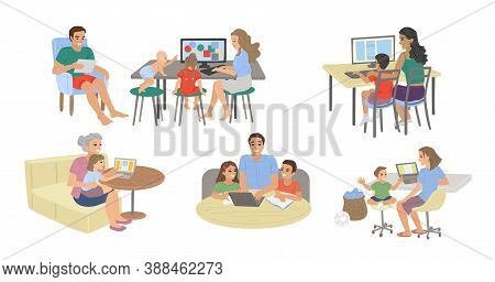 Parents And Children Study At The Computer, Do Homework, Study Online, And Students Take Exams From
