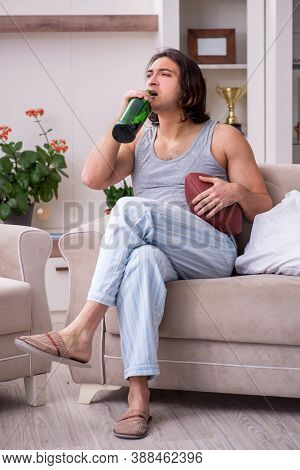 Male ex-champion american football player suffering from alcohol