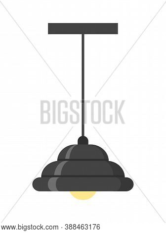 Black Loft Style Chandelier. Isolated On White Background. Vector Illustration.