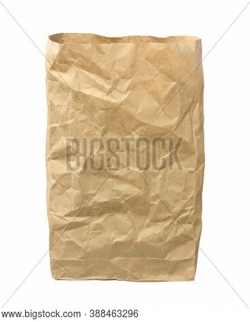 Crumpled Brown Bag (with Clipping Path) Isolated On White Background