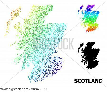 Pixel Rainbow Gradient, And Monochrome Map Of Scotland, And Black Tag. Vector Model Is Created From