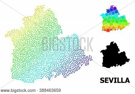 Pixelated Rainbow Gradient, And Monochrome Map Of Sevilla Province, And Black Title. Vector Model Is