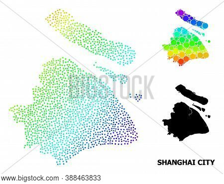 Dotted Rainbow Gradient, And Solid Map Of Shanghai Municipality, And Black Tag. Vector Model Is Crea
