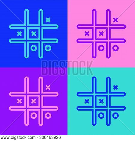 Pop Art Line Tic Tac Toe Game Icon Isolated On Color Background. Vector