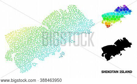 Pixel Spectrum, And Monochrome Map Of Shikotan Island, And Black Name. Vector Structure Is Created F