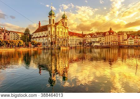 Amazing Colorful Sunset City Center Of Lucerne Of Lake Lucerne In Central Switzerland. Jesuitenkirch