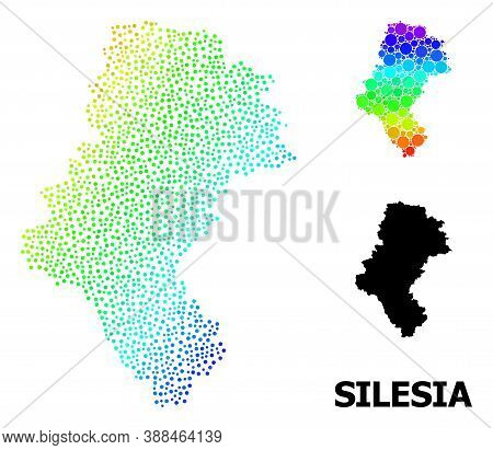 Dot Bright Spectral, And Monochrome Map Of Silesia Province, And Black Tag. Vector Model Is Created