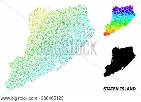 Pixel Bright Spectral, And Monochrome Map Of Staten Island, And Black Text. Vector Model Is Created