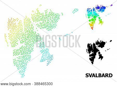 Pixel Bright Spectral, And Solid Map Of Svalbard Islands, And Black Text. Vector Model Is Created Fr