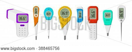 Set Of Medical Thermometers For Hospital During Coronavirus. A Set Of Tools For Measuring The Heat O