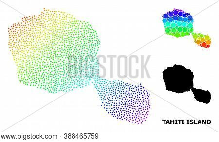 Pixelated Rainbow Gradient, And Monochrome Map Of Tahiti Island, And Black Text. Vector Structure Is