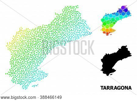 Dotted Bright Spectral, And Monochrome Map Of Tarragona Province, And Black Text. Vector Model Is Cr