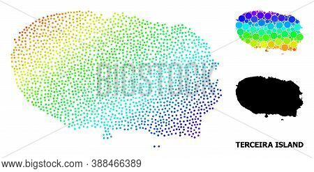 Pixelated Bright Spectral, And Monochrome Map Of Terceira Island, And Black Title. Vector Structure