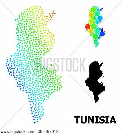Pixelated Bright Spectral, And Solid Map Of Tunisia, And Black Text. Vector Model Is Created From Ma