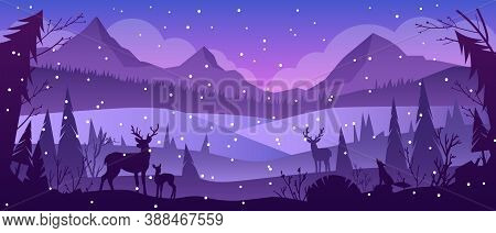 Christmas Winter Vector Landscape With Night Forest, Snow, Reindeers, Mountains, Hills. Holiday X-ma