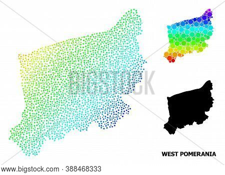 Dotted Bright Spectral, And Monochrome Map Of West Pomerania Province, And Black Text. Vector Model
