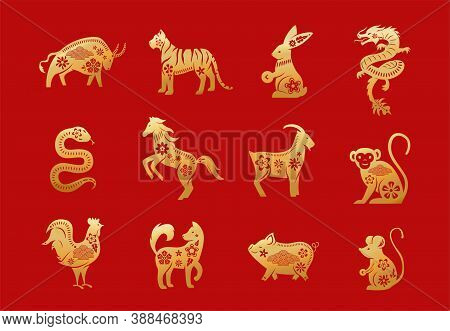 Chinese Zodiac Animals. Twelve Asian New Year Golden Characters Set Isolated On Red Background. Vect