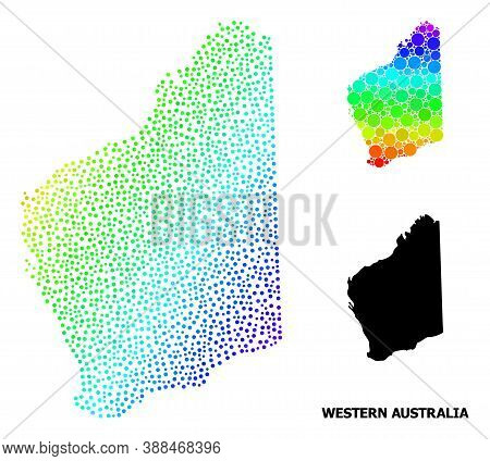 Pixelated Rainbow Gradient, And Monochrome Map Of Western Australia, And Black Caption. Vector Struc