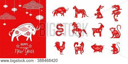 Chinese Zodiac Animals Set With Happy New Year Greeting Card Template Of Ox 2021. Twelve Asian Tradi