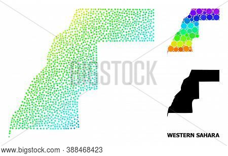 Dot Rainbow Gradient, And Solid Map Of Western Sahara, And Black Tag. Vector Model Is Created From M